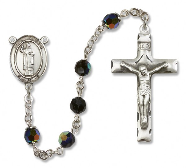 St. Stephen the Martyr Sterling Silver Heirloom Rosary Squared Crucifix - Black