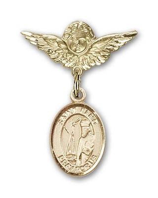 Pin Badge with St. Elmo Charm and Angel with Smaller Wings Badge Pin - 14K Yellow Gold