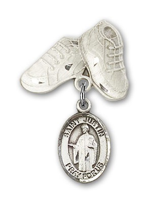 Pin Badge with St. Justin Charm and Baby Boots Pin - Silver tone