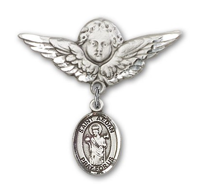 Pin Badge with St. Aedan of Ferns Charm and Angel with Larger Wings Badge Pin - Silver tone