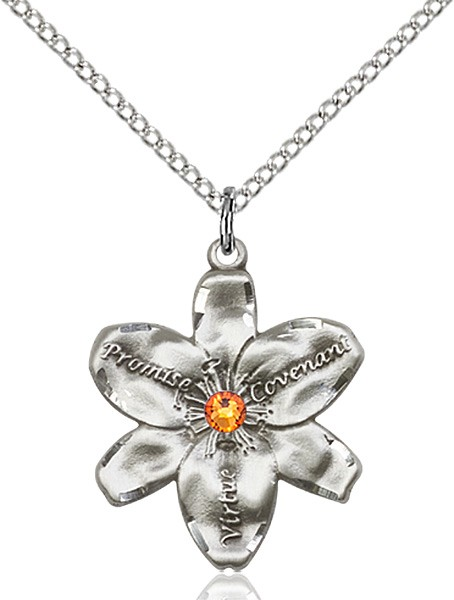 Large Five Petal Chastity Pendant with Birthstone Center - Topaz
