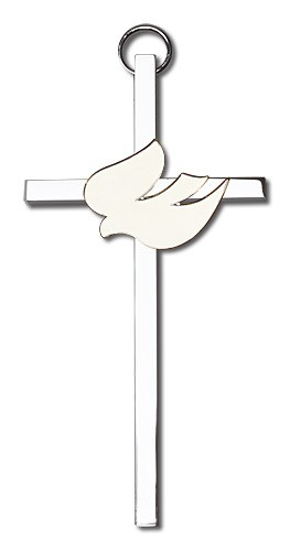 "Holy Spirit Wall Cross with White Dove 4"" - Two-Tone Silver"