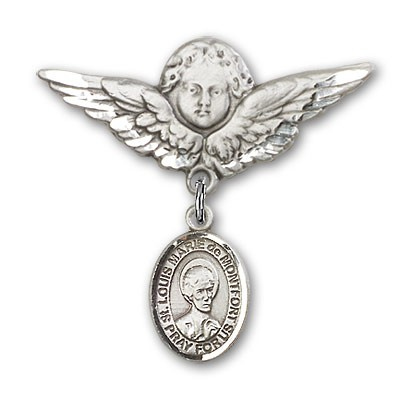 Pin Badge with St. Louis Marie de Montfort Charm and Angel with Larger Wings Badge Pin - Silver tone
