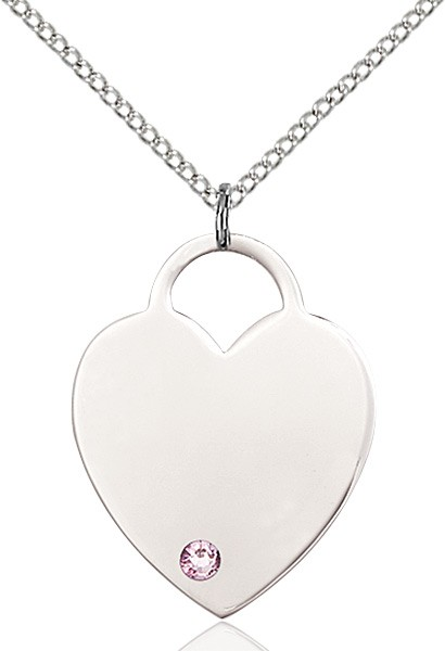 Large Women's Heart Pendant with Birthstone Options - Light Amethyst