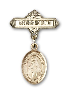 Pin Badge with St. Hildegard Von Bingen Charm and Godchild Badge Pin - 14K Yellow Gold