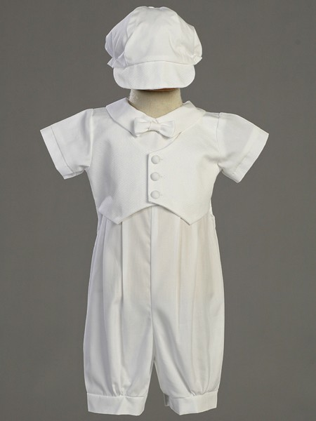 Tyler Cotton Baptism Romper with Pique Vest - White