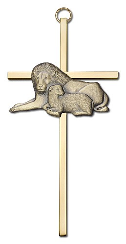 "Lion and Lamb Wall Cross 6"" - Gold Tone"