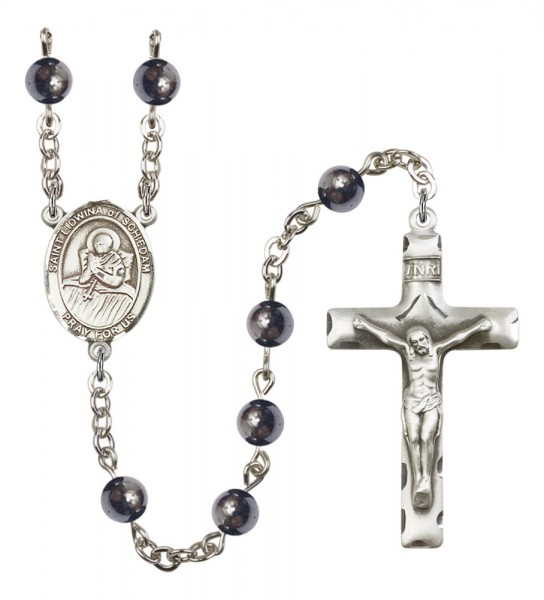 Men's St. Lidwina of Schiedam Silver Plated Rosary - Gray