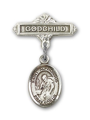 Pin Badge with St. Alphonsus Charm and Godchild Badge Pin - Silver tone
