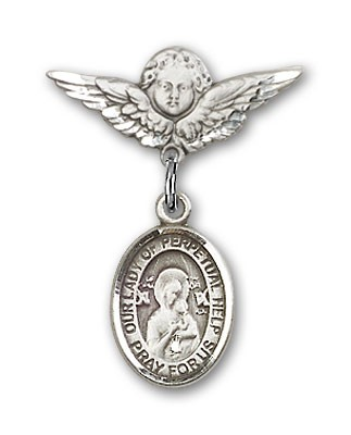 Pin Badge with Our Lady of Perpetual Help Charm and Angel with Smaller Wings Badge Pin - Silver tone