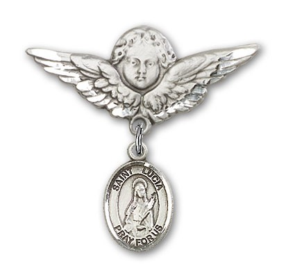 Pin Badge with St. Lucia of Syracuse Charm and Angel with Larger Wings Badge Pin - Silver tone