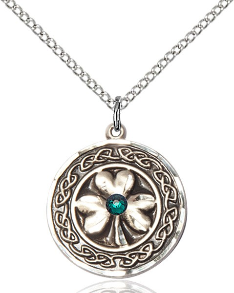 Shamrock Pendant with Birthstone Options - Sterling Silver