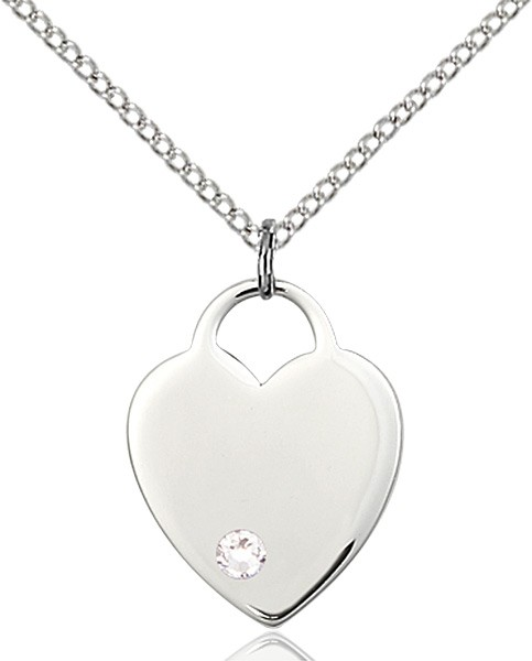 Medium Heart Shaped Pendant with Birthstone Options - Crystal