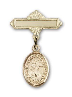 Pin Badge with St. Bernard of Clairvaux Charm and Polished Engravable Badge Pin - 14K Yellow Gold