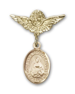 Pin Badge with Marie Magdalen Postel Charm and Angel with Smaller Wings Badge Pin - 14K Yellow Gold