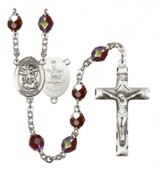 Men's St. Michael Army Silver Plated Rosary - Garnet