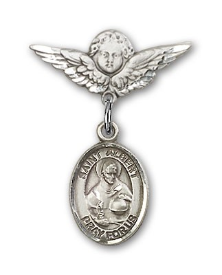 Pin Badge with St. Albert the Great Charm and Angel with Smaller Wings Badge Pin - Silver tone
