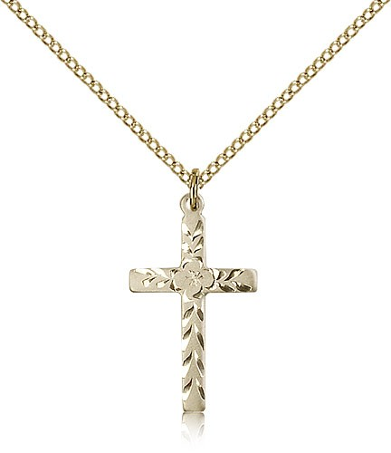 Women's Textured Etched Cross Necklace - 14KT Gold Filled