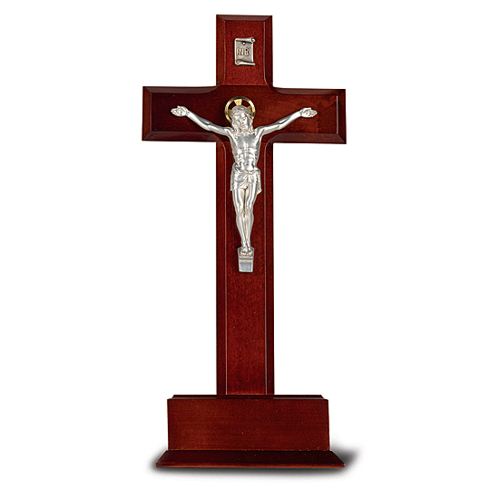 Standing Dark Cherry Crucifix with Base- 10 inch - Cherry Wood