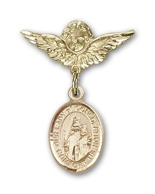 Pin Badge with Our Lady of Consolation Charm and Angel with Smaller Wings Badge Pin - 14K Yellow Gold