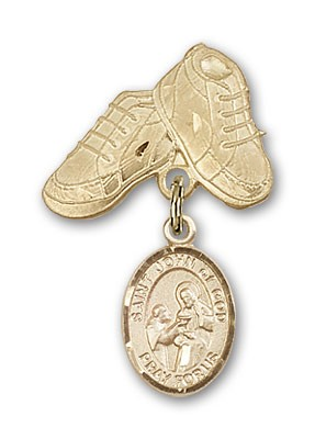Pin Badge with St. John of God Charm and Baby Boots Pin - 14K Yellow Gold