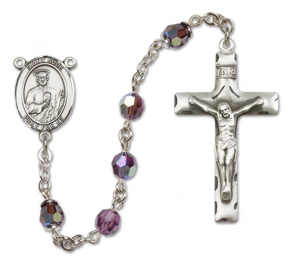 St. Jude Thaddeus Sterling Silver Heirloom Rosary Squared Crucifix - Amethyst
