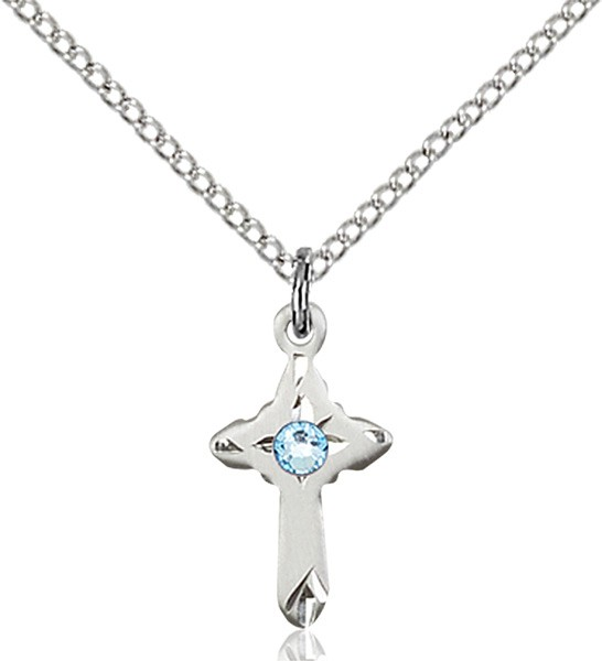 Child's Pointed Edge Cross Pendant with Birthstone Options - Aqua