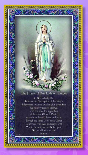 Our Lady of Lourdes Italian Prayer Plaque - Multi-Color