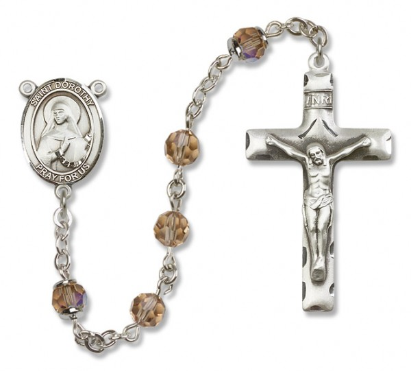 St. Dorothy Sterling Silver Heirloom Rosary Squared Crucifix - Topaz