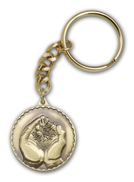 Faith Hand Serenity Keychain - Antique Gold