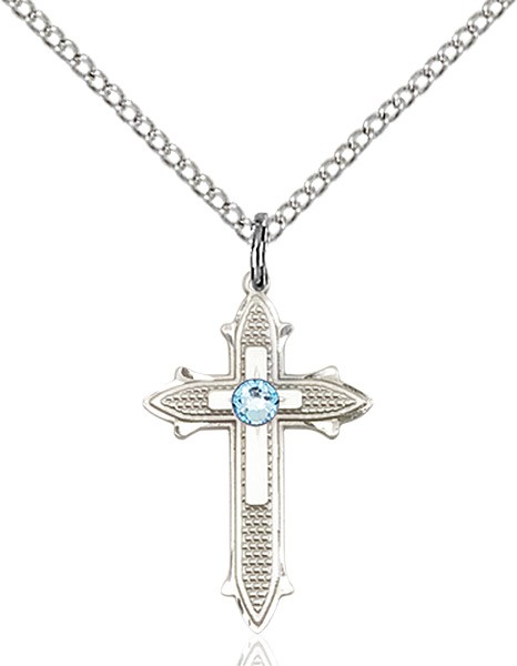 Polished and Textured Cross Pendant with Birthstone Options - Aqua