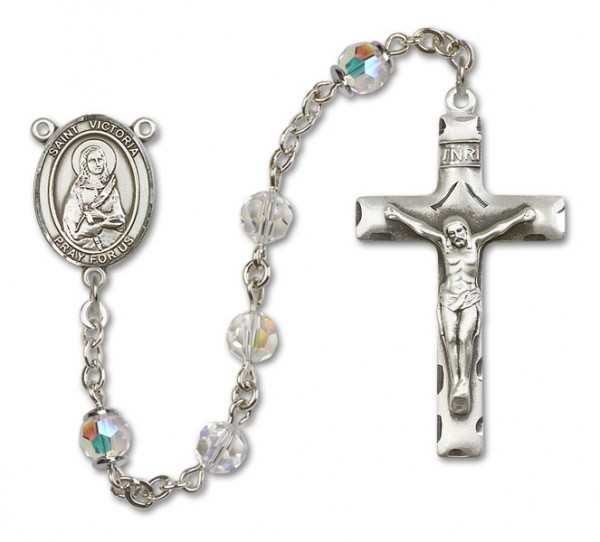 St. Victoria Sterling Silver Heirloom Rosary Squared Crucifix - Crystal