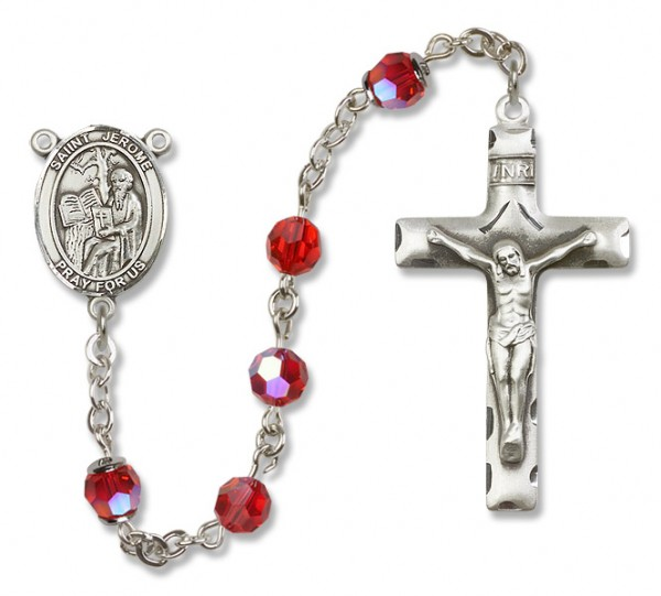 St. Jerome Sterling Silver Heirloom Rosary Squared Crucifix - Ruby Red