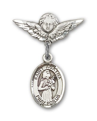 Pin Badge with St. Agatha Charm and Angel with Smaller Wings Badge Pin - Silver tone