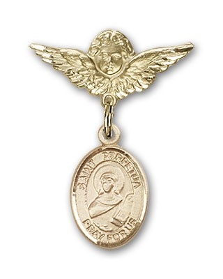 Pin Badge with St. Perpetua Charm and Angel with Smaller Wings Badge Pin - 14K Solid Gold