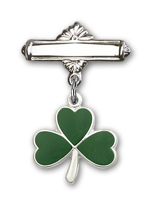 Pin Badge with Shamrock Charm and Polished Engravable Badge Pin - Silver tone
