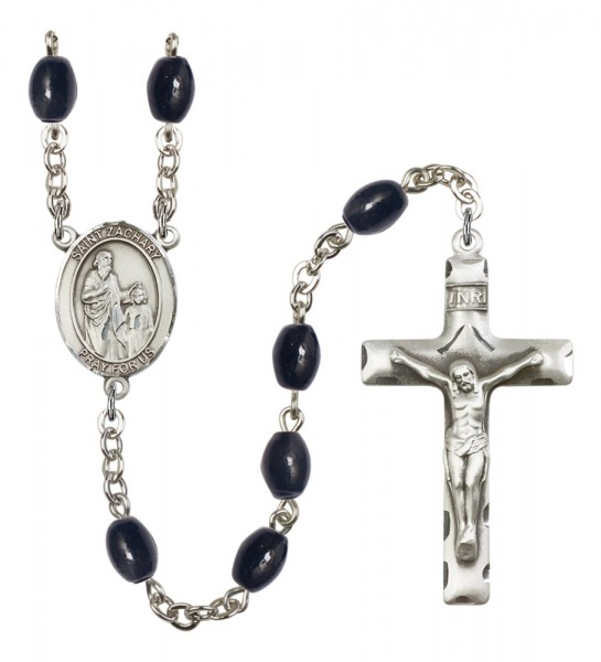 Men's St. Zachary Silver Plated Rosary - Black Oval
