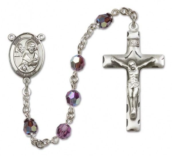 St. Mark the Evangelist Sterling Silver Heirloom Rosary Squared Crucifix - Amethyst