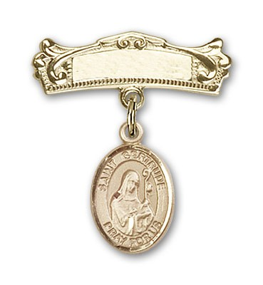 Pin Badge with St. Gertrude of Nivelles Charm and Arched Polished Engravable Badge Pin - Gold Tone