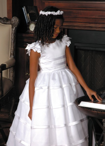 First Communion Dress in Satin with Layered Organza Skirt - White
