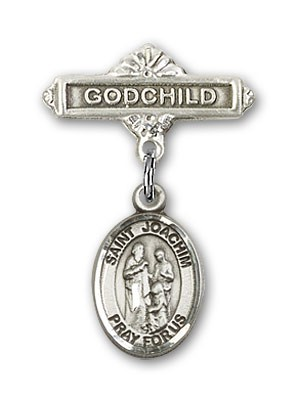 Pin Badge with St. Joachim Charm and Godchild Badge Pin - Silver tone