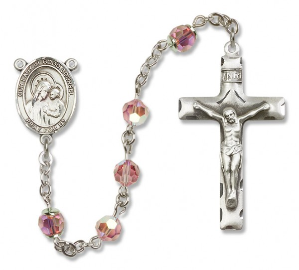 Our Lady of Good Counsel Rosary Heirloom Squared Crucifix - Light Rose