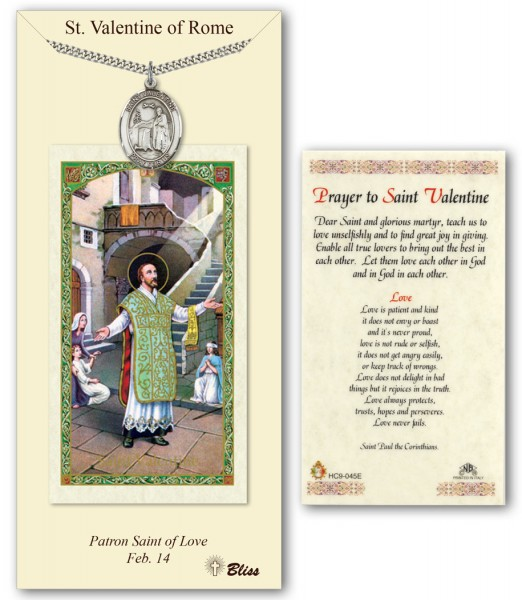 St. Valentine of Rome Medal in Pewter with Prayer Card - Silver tone