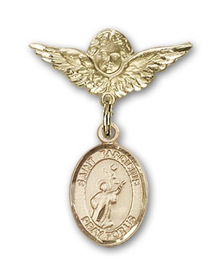 Pin Badge with St. Tarcisius Charm and Angel with Smaller Wings Badge Pin - 14K Yellow Gold