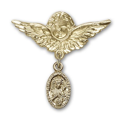 Pin Badge with Our Lady of Czestochowa Charm and Angel with Larger Wings Badge Pin - Gold Tone