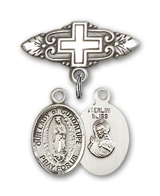 Pin Badge with Our Lady of Guadalupe Charm and Badge Pin with Cross - Silver tone