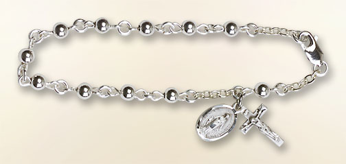 Rosary Bracelet - Round Beads and crucifix pendant - Sterling Silver
