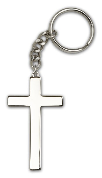 Cross Keychain - Antique Silver