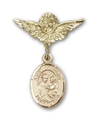 Pin Badge with St. Anthony of Padua Charm and Angel with Smaller Wings Badge Pin - 14K Yellow Gold