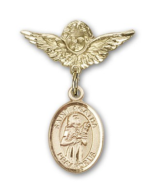 Pin Badge with St. Agatha Charm and Angel with Smaller Wings Badge Pin - 14K Yellow Gold